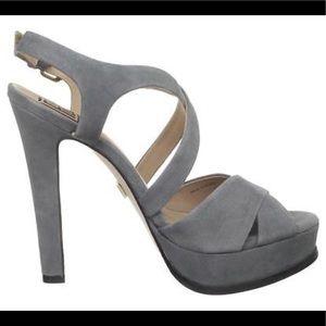 Pour La Victoire Grey Suede crisscros High Heel